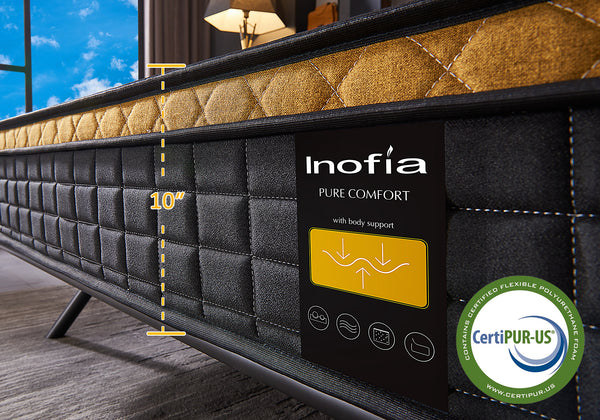 Inofia Mattress,25cm Pocket Sprung Mattress With Breathable Memory Foam and 9-Zone