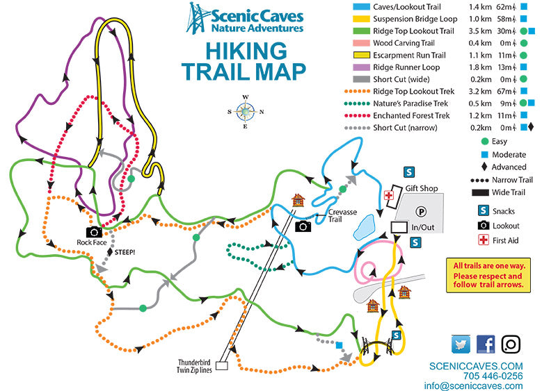 Scenic Caves Nature Adventures - Summer Trail Map