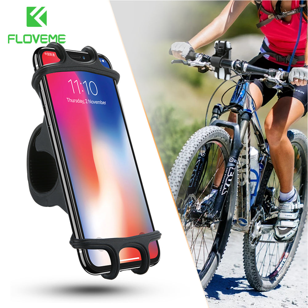 Bike Phone Mount for any Smart Phone: iPhone - XR, XS, X, 8, 7, 6, 5 plus Samsung Galaxy - S9, S8, S7, S6, S5, S4 Edge, Nexus, Nokia, LG