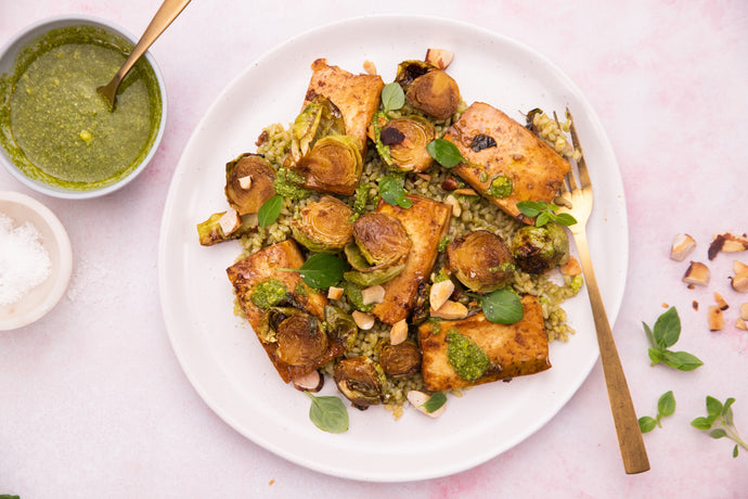 Roasted Balsamic Tofu With Brussels Sprouts Recipe