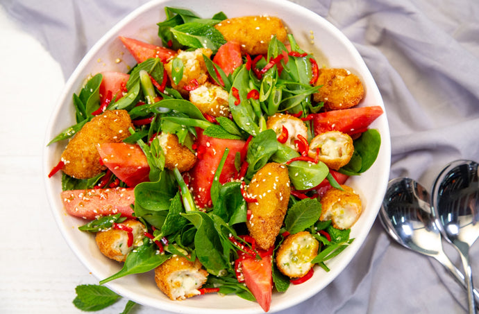 Prawn Croquette, Watermelon & Mint Salad Recipe