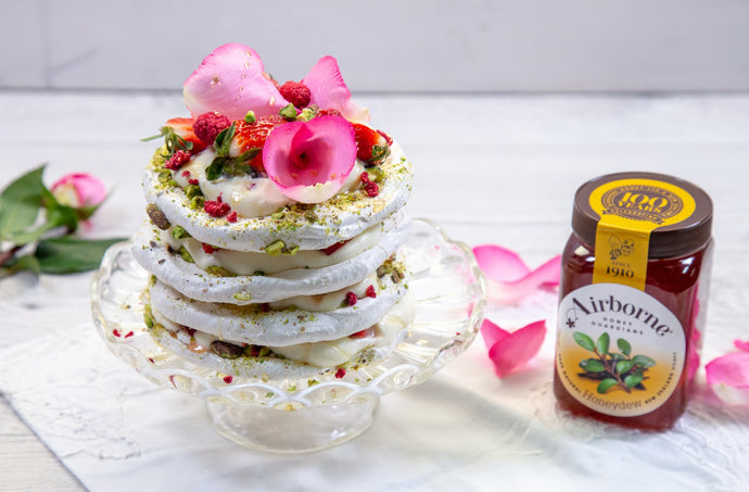 Strawberry, Pistachio & Honey Meringue Layer Cake Recipe