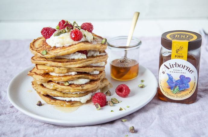 Thick Banana, Honey & Ricotta Pancakes Recipe