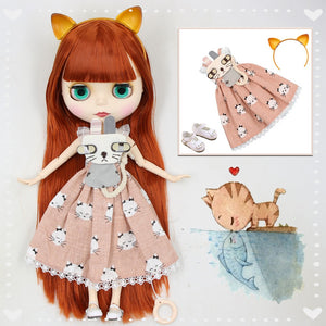 1/6 bjd blyth doll red brown hair with bangs matte face joint body cat headband dress shoes combination 1/6 30cm