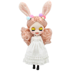 1/6 bjd customized doll factory blyth doll white skin joint body champagne hair, new matte face with teeth, 30cm BL3139/1010