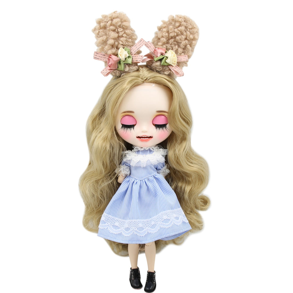 1/6 bjd customized doll factory blyth doll white skin joint body golden hair, new matte face with teeth, 30cm BL3227