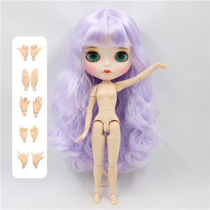 1/6 bjd doll factory blyth doll white skin joint body new matte face mix purple with bangs BL1017/6005 30cm