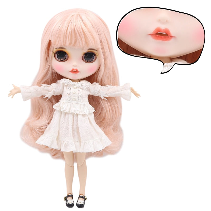 1/6 bjd factory blyth doll bjd custom doll pale pink hair, new matte face with teeth, white skin joint body 30cm BL2352