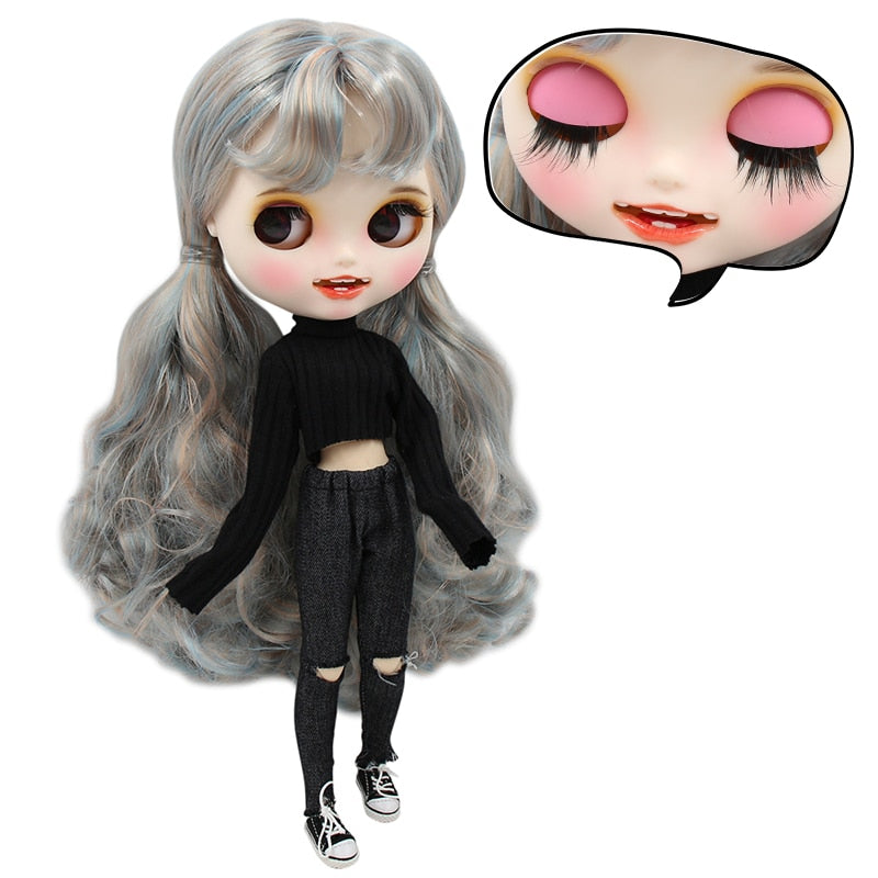 1/6 bjd factory blyth doll blue mix golden hair, new matte face with teeth, white skin joint body 30cm BL6227/2023