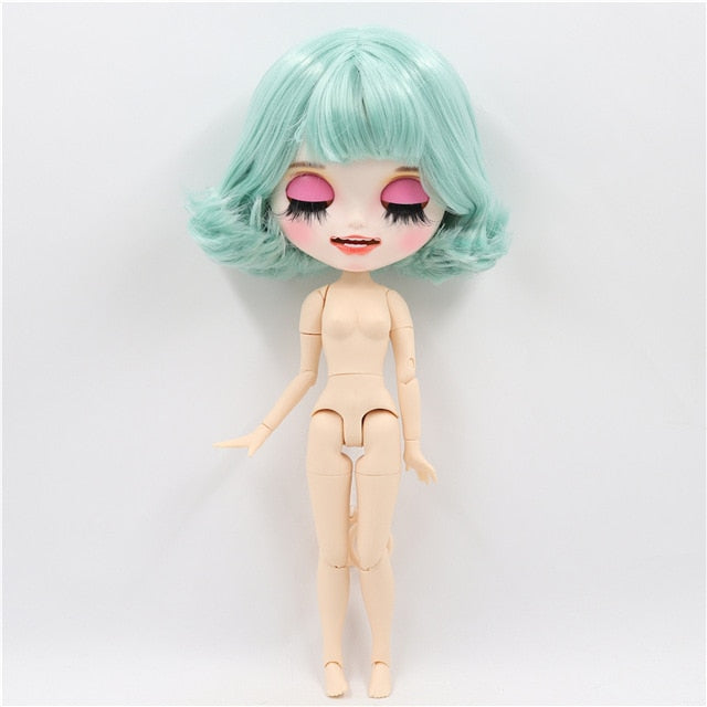 1/6 bjd factory blyth doll joint body customized doll custom matte face open mouth short green hair BL4006 30cm