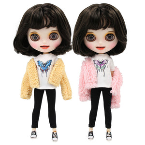 1/6 bjd factory blyth doll short black hair, new matte face with teeth, white skin joint body 30cm BL950