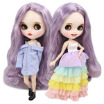 1/6 bjd factory blyth doll white skin joint body pale purple violet hair, new matte face with teeth, 30cm BL1049