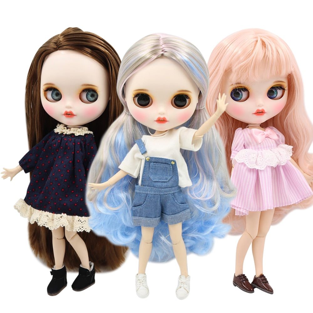 1/6 factory blyth doll bjd doll customized face custom doll white skin joint body matte face with teeth eyebrow, 30cm