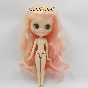BL313/1010 Pink mix golden Colorful Long waving Hair Sisters blyth doll(30cm) middie doll(20cm) Mini doll(10cm)
