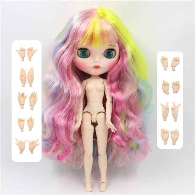 Factory blyth doll 1/6 bjd doll white skin joint body new matte face Carved lips with eyebrow customized face, 30cm