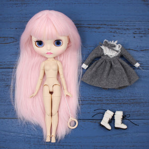 Factory blyth doll bjd joint body white skin new faceplate matte face BL2352 pale pink hair 30cm