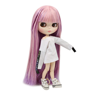 Factory blyth doll joint body white skin BL6122/2137 Pink and Purple hair with bangs 30cm 1/6, gift for girl