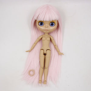 Free shipping factory blyth doll 280BL2352 straight pale pink hair tan skin joint body with bangs 1/6 30