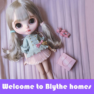 Free shipping factory blyth doll BL8800 grey straight hair with bangs/fringes normal body 1/6 gift toy