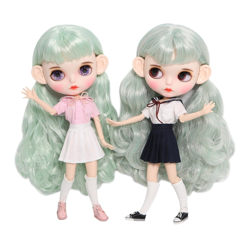 ICY 1/6 bjd factory Blyth Doll Customized Face white skin joint body green hair with clothes shoes ears 30cm doll matte face
