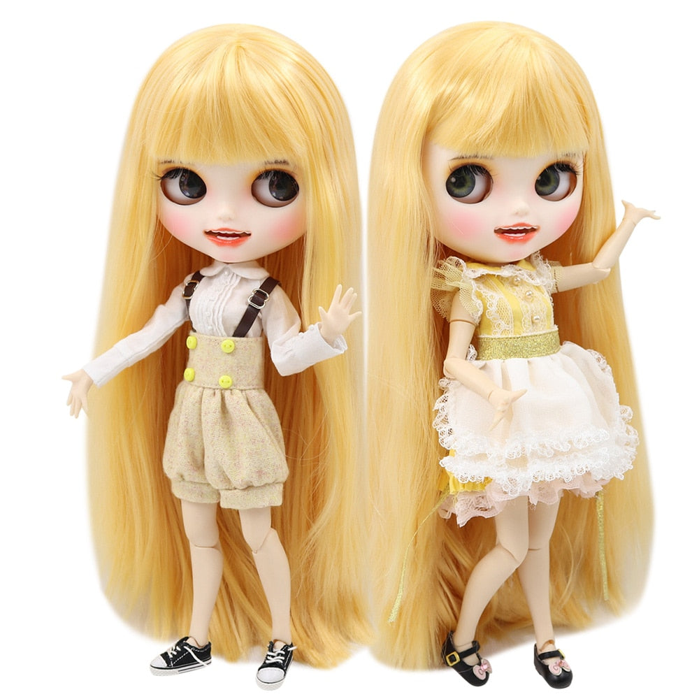 ICY 1/6 bjd factory Blyth Doll Customized Matte Face white skin joint body straight yellow golden hair BL0658, open mouth 30cm