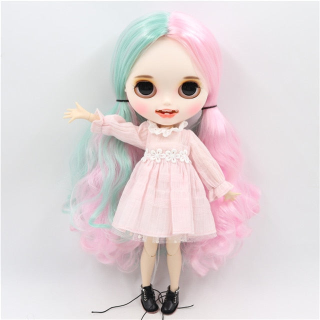 ICY factorty blyth doll 1/6 bjd white skin joint body, new matte face open mouth with teeth Carved lips , 30cm BL1017/4006