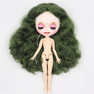 ICY factory blyth doll 1/6 bjd custom doll green hair, new matte face with teeth, white skin joint body 30cm BL4299