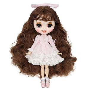 ICY factory blyth doll 1/6 bjd customized doll white skin joint body brown hair, new matte face with teeth, 30cm BL9158