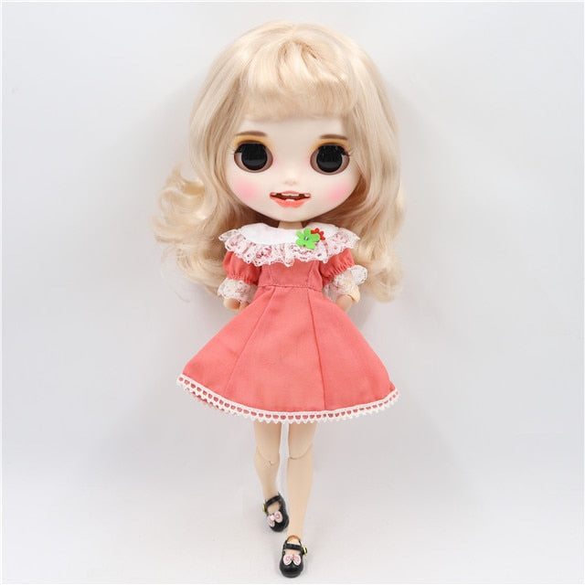 ICY factory blyth doll 1/6 bjd customized face custom doll white skin joint body, new matte face with teeth 30cm