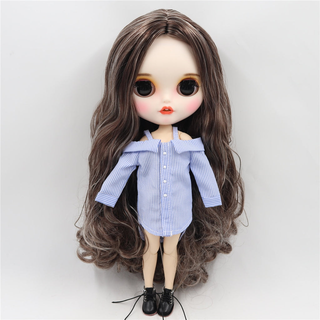 ICY factory blyth doll 1/6 bjd customized face white skin joint body black mix blonde hair new matte face with teeth 30cm