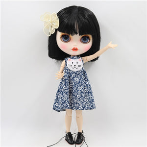 ICY factory blyth doll 1/6 bjd customized face white skin joint body short black hair, new matte face with teeth 30cm BL117
