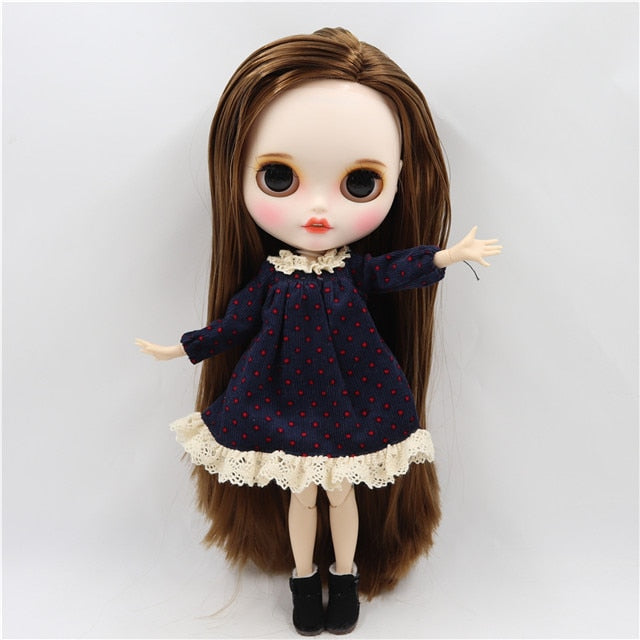 ICY factory blyth doll 1/6 bjd joint body custom face open mouth white skin straight brown side parted hair, 30cm BL9158