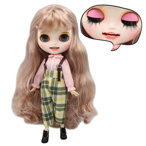 ICY factory blyth doll 1/6 bjd purple mix goldenhair, new matte face with teeth, white skin joint body 30cm  BL2240/1049