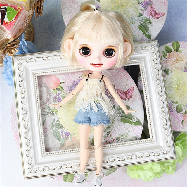 ICY factory blyth doll 1/6 bjd white skin joint body blonde golden hair, new matte face open mouth closed eyes