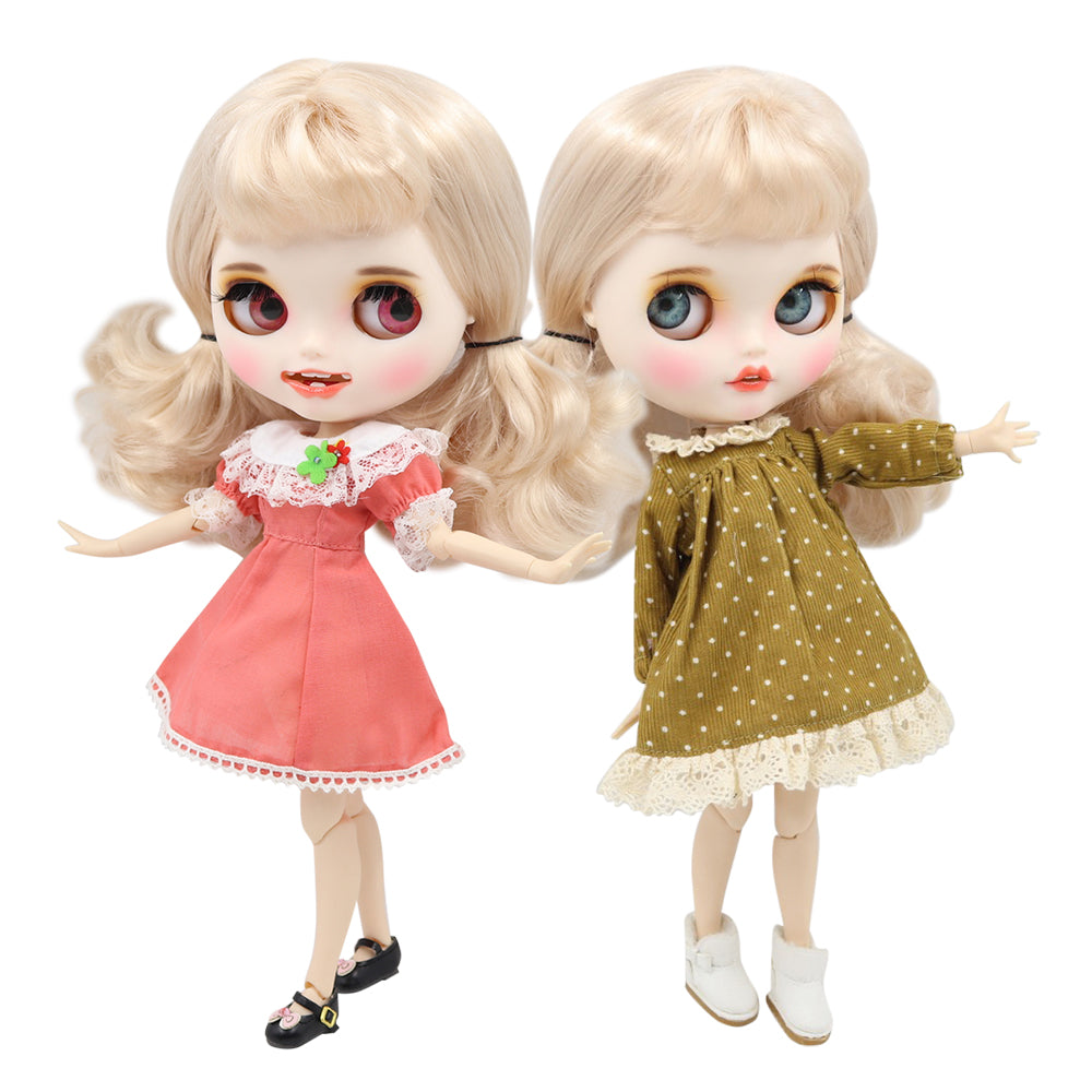 ICY factory blyth doll 1/6 bjd white skin joint body blonde golden hair with bangs, new matte face with teeth, 30cm BL3139