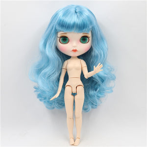 ICY factory blyth doll 1/6 bjd white skin joint body blue hair, new matte face Carved lips 30cm BL6227