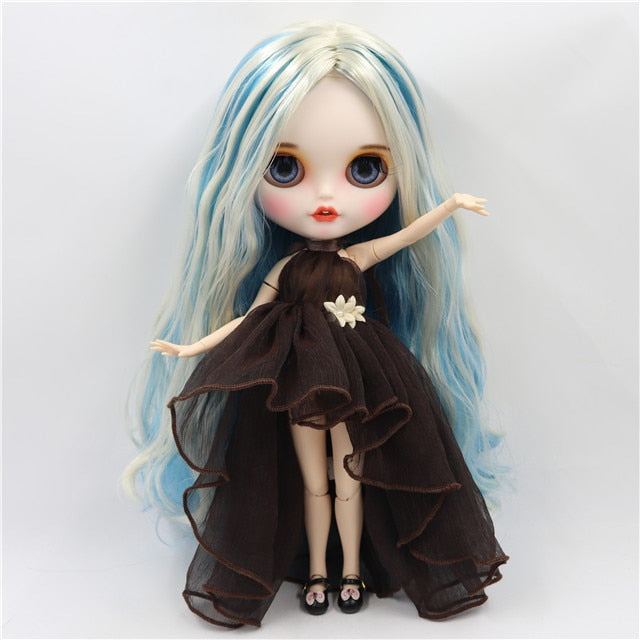 ICY factory blyth doll 1/6 bjd white skin joint body blue mix hair, new matte face open mouth customized face, BL6227/6025