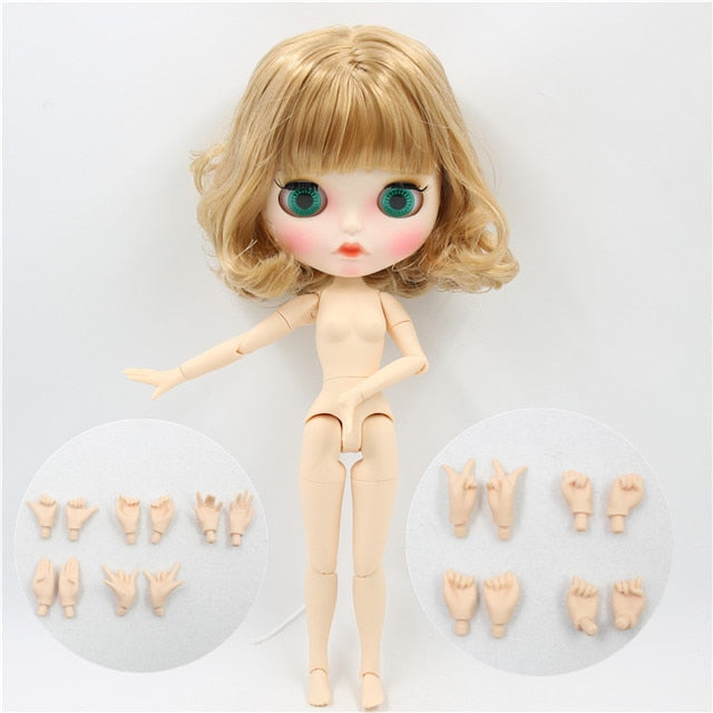 ICY factory blyth doll 1/6 bjd white skin joint body golden Flaxen hair, new matte face Carved lips, with eyebrows with ears