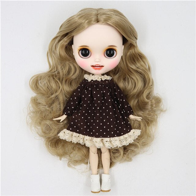 ICY factory blyth doll 1/6 bjd white skin joint body golden blonde hair without bangs, new matte face with teeth, 30cm BL3227