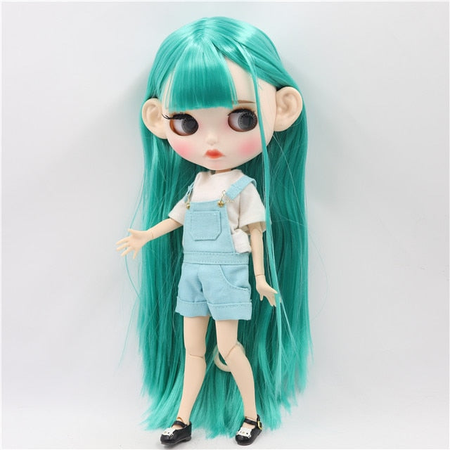 ICY factory blyth doll 1/6 bjd white skin joint body green hair, new matte face Carved lips with eyebrow 30cm BL4427