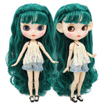 ICY factory blyth doll 1/6 bjd white skin joint body green hair with braid, new matte face Carved lips customized face 30cm