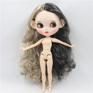 ICY factory blyth doll 1/6 bjd white skin joint body grey and silver hair, new matte face Carved lips 30cm BL8800/9016