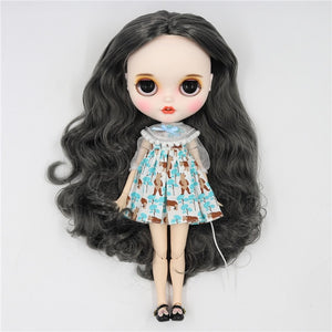 ICY factory blyth doll 1/6 bjd white skin joint body grey hair without bangs, new matte face with teeth, 30cm BL9016