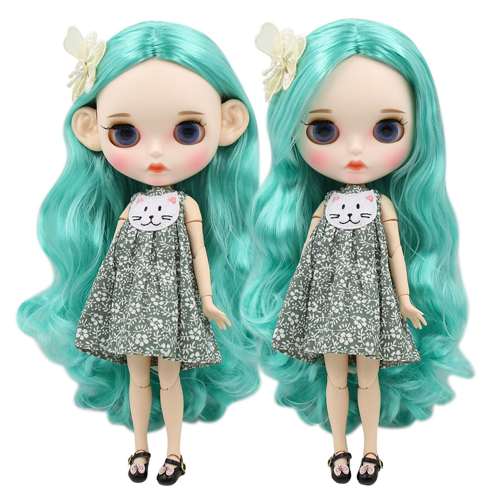 ICY factory blyth doll 1/6 bjd white skin joint body mint hair, new matte face Carved lips with eyebrow customized face 30cm