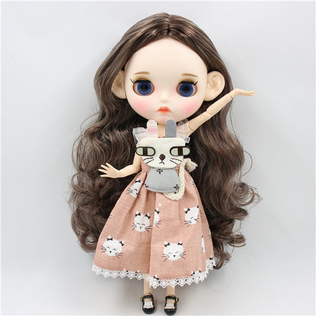 ICY factory blyth doll 1/6 bjd white skin joint body, new matte face Carved lips with eyebrow customized face, doll with ears