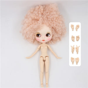ICY factory blyth doll 1/6 bjd white skin joint body pale pink Afro hair, new matte face Carved lips 30cm BL2352