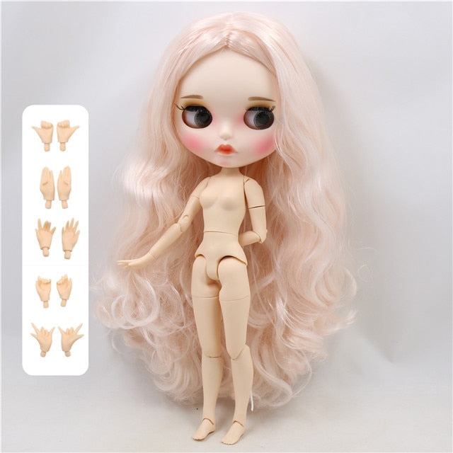 ICY factory blyth doll 1/6 bjd white skin joint body pale pink hair, new matte face Carved lips with eyebrows, BL136/2352 30cm