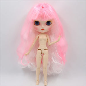 ICY factory blyth doll 1/6 bjd white skin joint body pink and white hair, new matte face Carved lips with eyebrow doll with ears
