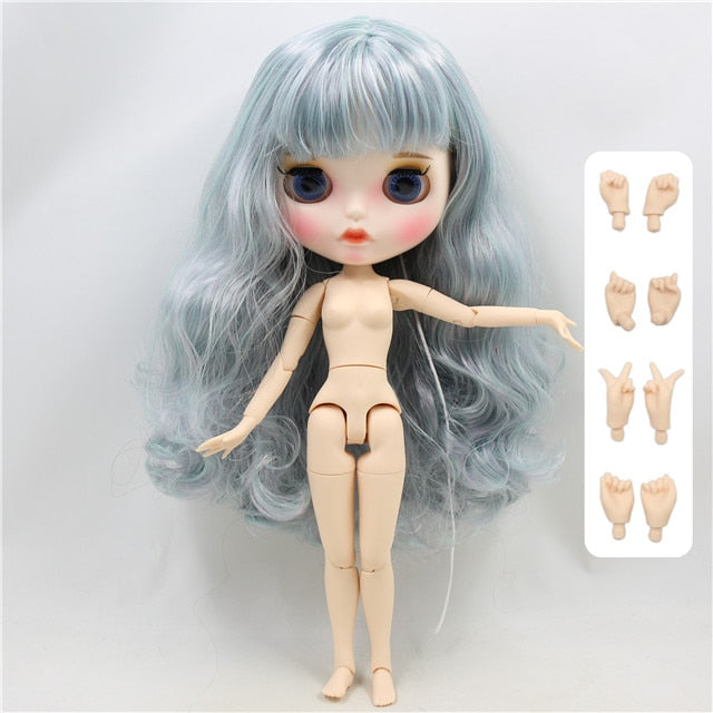 ICY factory blyth doll 1/6 bjd white skin joint body purple mix mint hair new matte face Carved lips with eyebrows BL4006/1049
