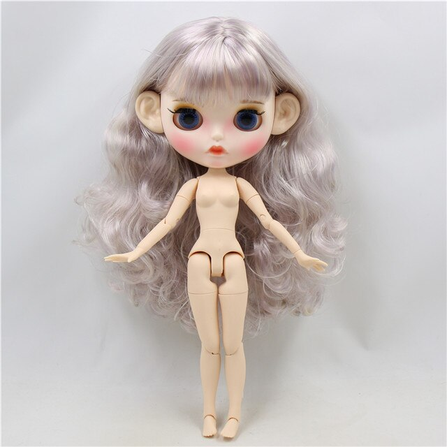 ICY factory blyth doll 1/6 bjd white skin joint body purple mix silver hair, new matte face Carved lips with eyebrows BL1049/288